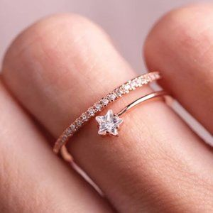 *NEW 18K Rose Gold Diamond Star Adjustable Ring